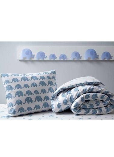 Hibboux Bebek Nevresim+Yastık Kılıfı Mavi